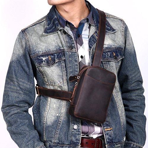 Leathario bolso portátil de moda de cuero de primer capa de caballo loco colgado de hombros para hombres usado al diario(café) CAFÉ 2
