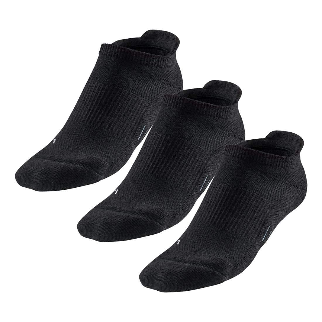 R-Gear Women's No Show Running Socks (3-Pack) | Super Femme, Super Cute, Super Dry, Black/ThinCushion, S/M