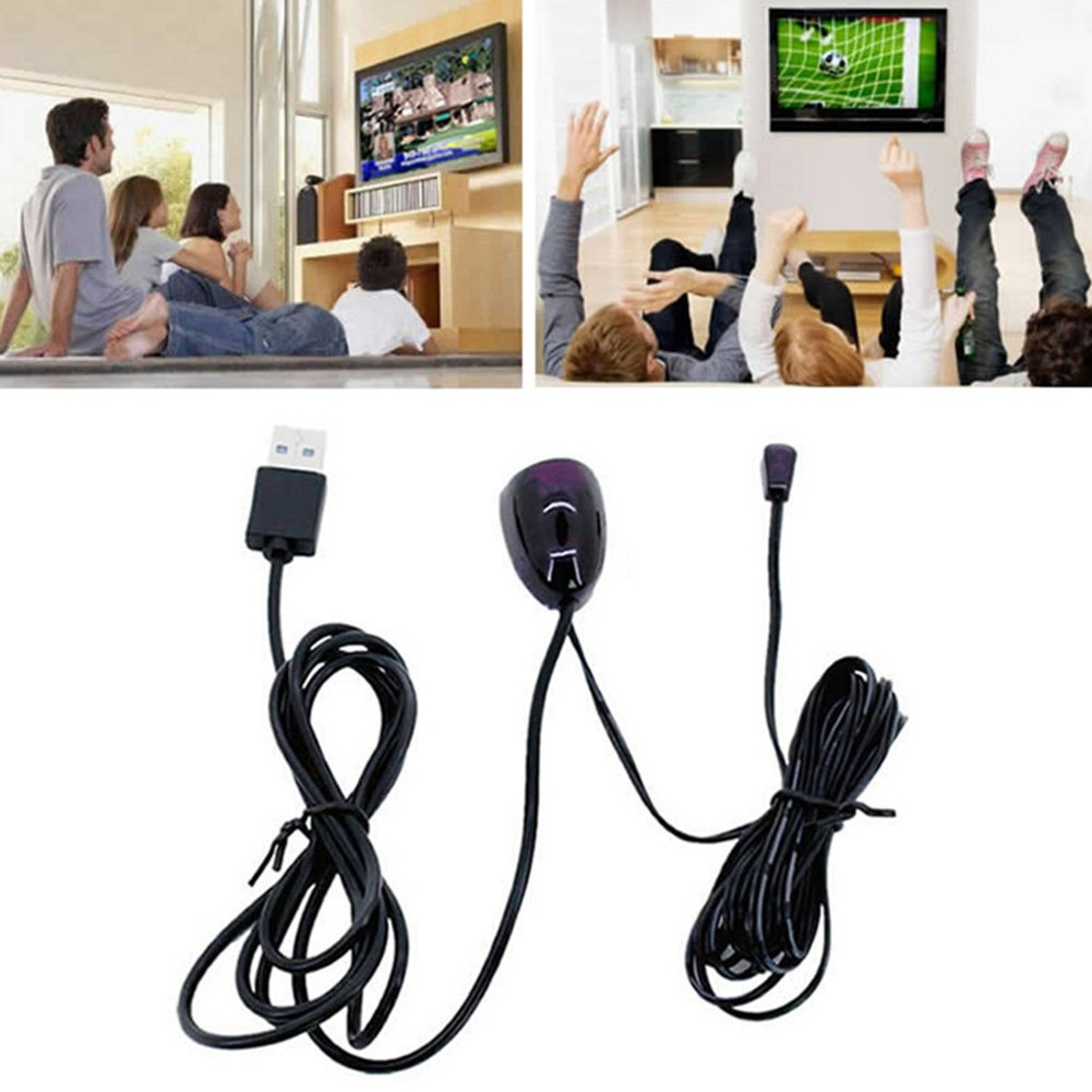 Infrared Remote Control Receiver IR Extender Repeater Emitter USB Cable Adapter Black