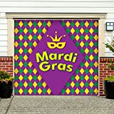 Outdoor Mardi Gras Decorations Garage Door Banner Cover Mural Décoration 7'x8' - Mardi Gras Diamonds - ''The Original Mardi Gras Supplies Holiday Garage Door Banner Decor''