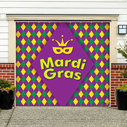 Outdoor Mardi Gras Decorations Garage Door Banner Cover Mural Décoration 7'x8' - Mardi Gras Diamonds - ''The Original Mardi Gras Supplies Holiday Garage Door Banner Decor'' by Victory Corps