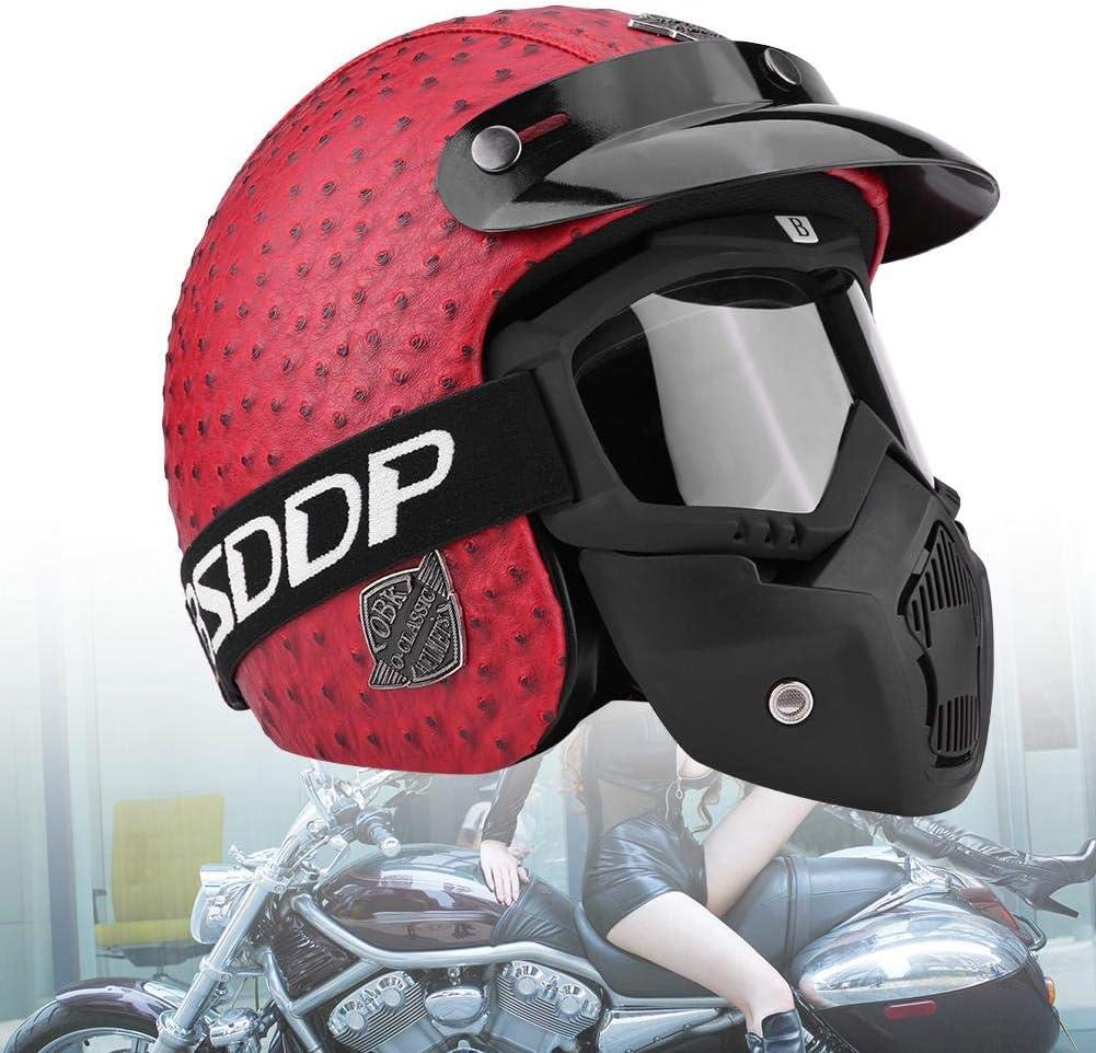 Diff/érentes Tailles et Couleurs au Choix Casque de Moto avec Lunettes de Protection Universel L-Rouge Casque de Moto R/étro Style Demi-Casque de Moto Ouvert en Cuir pour Moto Scooter