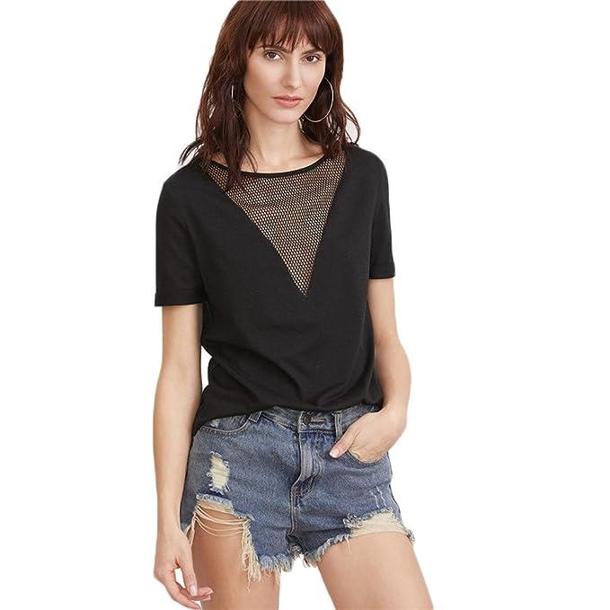 VENMO Moda Mujer Verano Blusa Manga Corta Camisetas Casual T-Shirt Tops (S)