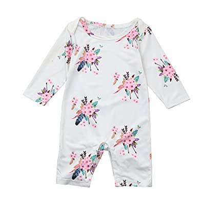 Newborn Baby Girls Long Sleeve Floral Rompers Jumpsuits Outfits Sunsuit Clothes
