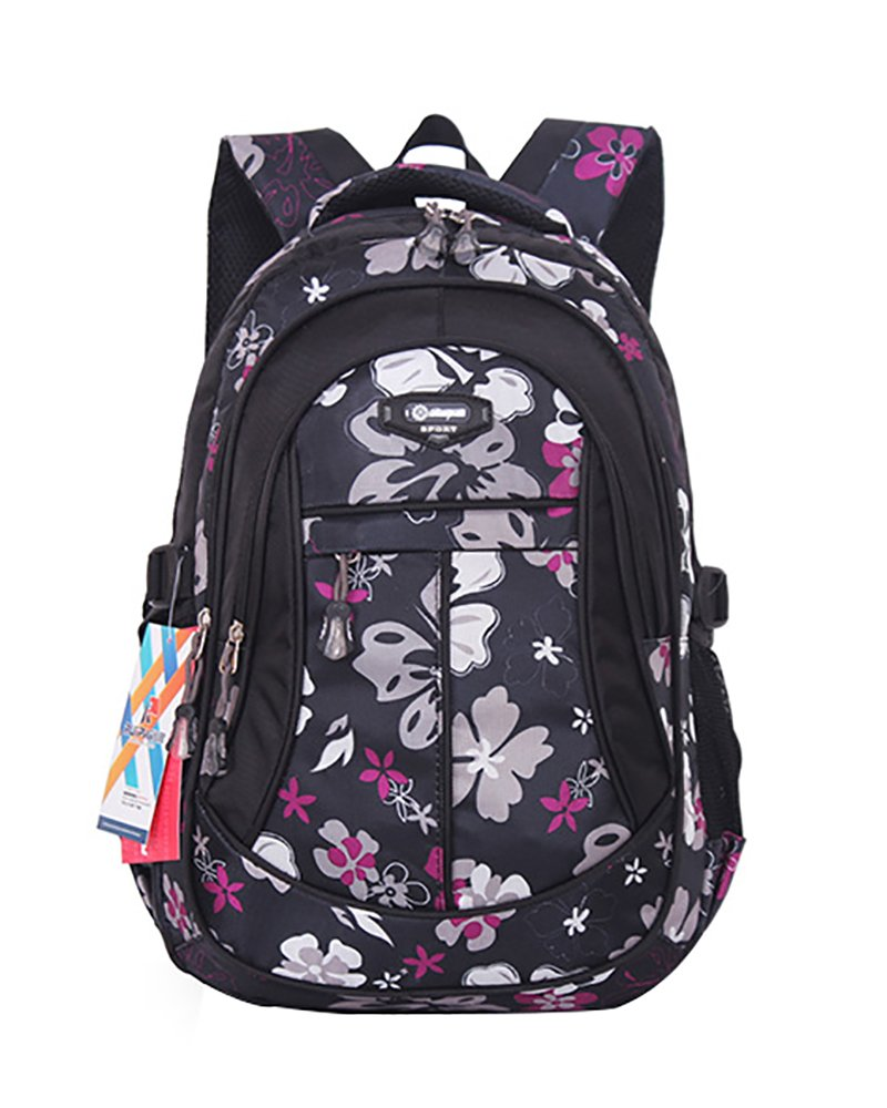 JiaYou Girl Flower Printed Primary Junior High University School Bag Bookbag Backpack(Black,24 Liters)