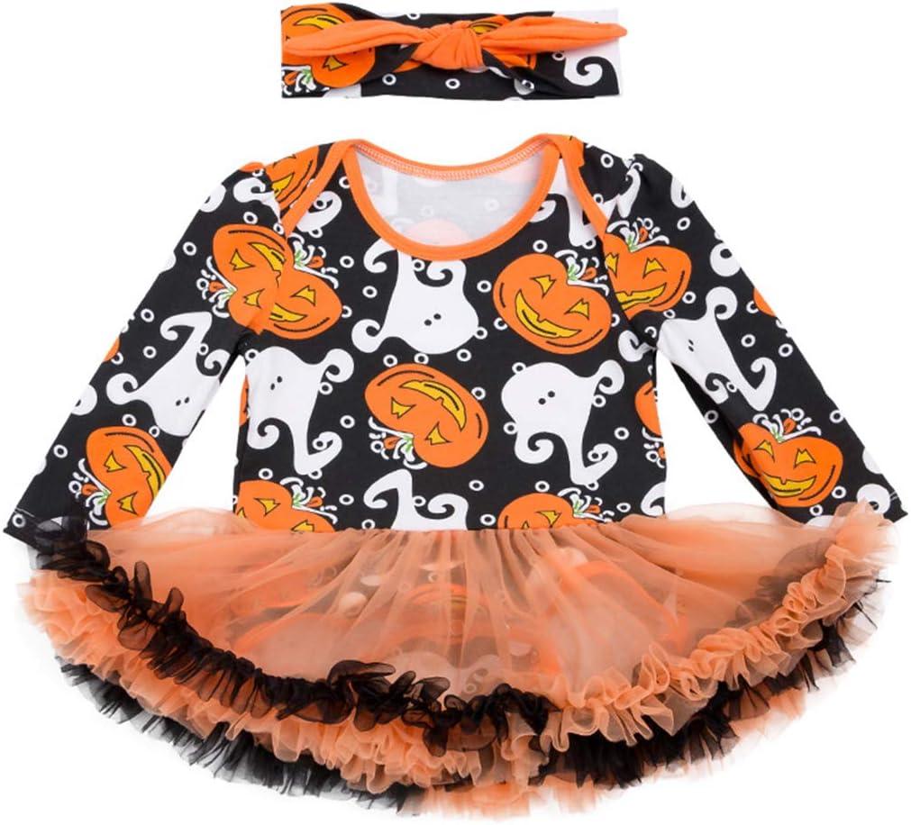 Bambino Costume di Halloween Pagliaccetto Tutu con Fascia Leggings Scarpe 4pcs Zucca Tutina Outfits