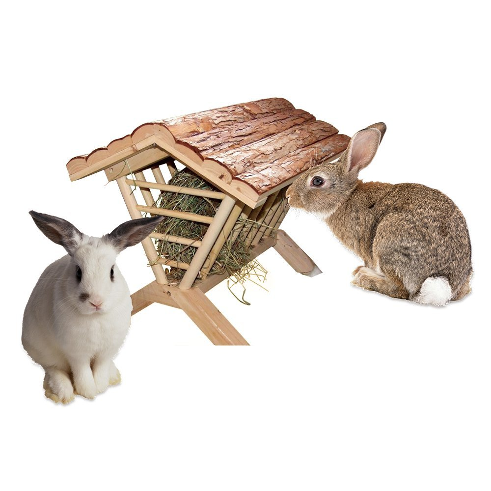 B&P Large Rabbit Hay Rack With Cover - Bunny Hay Stand Natural Wooden Chinchilla Feeder (Pavilion Shape) by Beaks And Paws