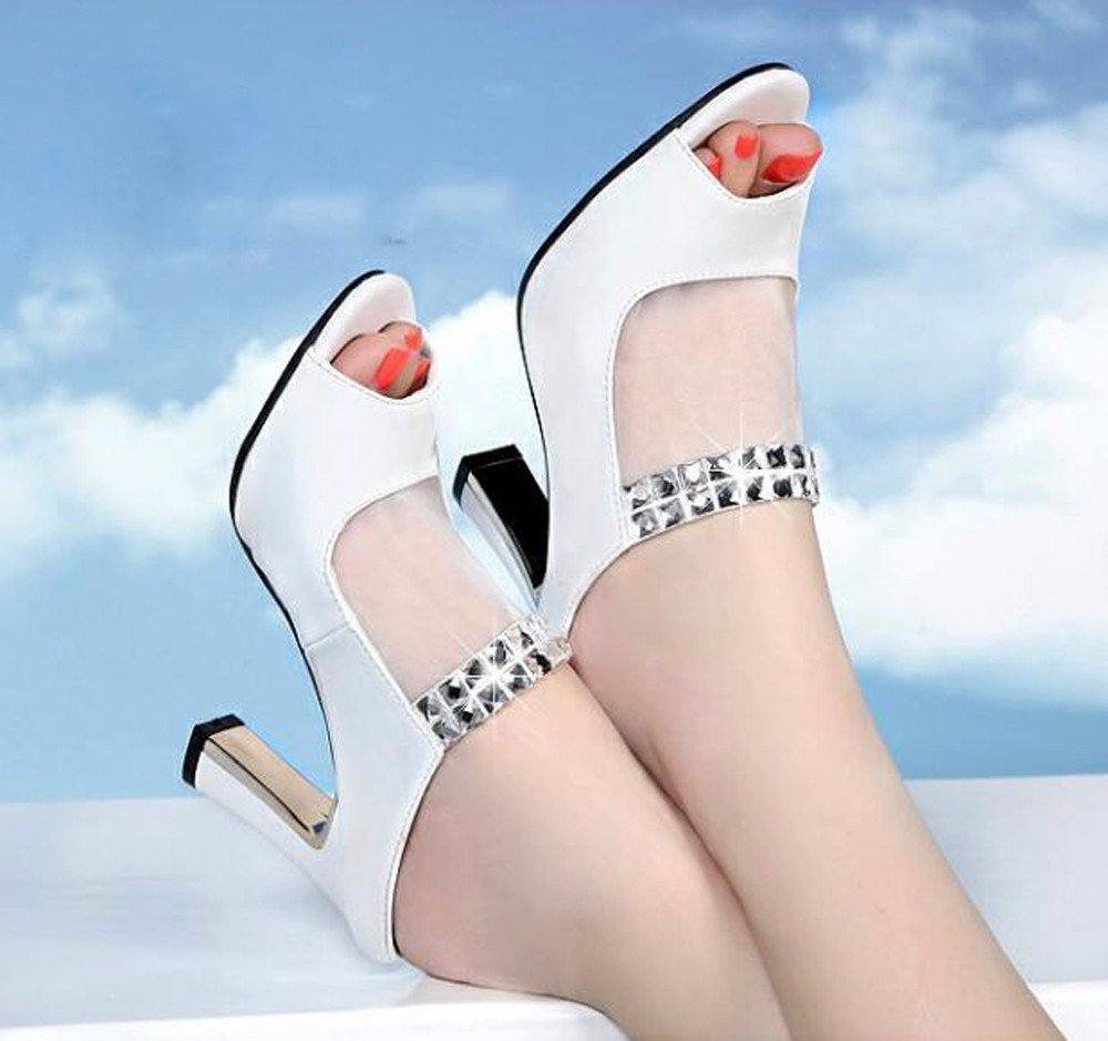 GTVERNH Mujer Zapatos/Zapatillas Mujeres Verano Desgaste Al Aire Libre 7 Cm Zapatos De Tacon Alto Taladro Rough Talon Boca De Pescado Gasas Palabra Cool Zapatillas.Treinta Y Siete Pink Thirty-seven|Pink
