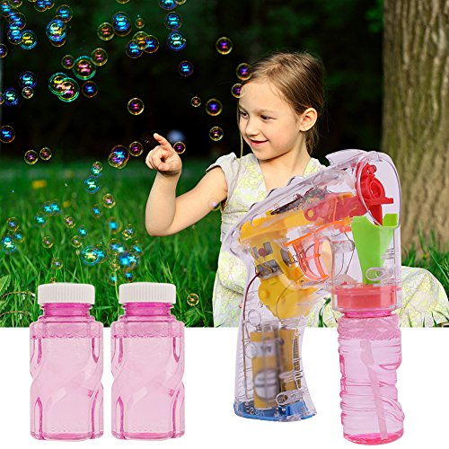 Kids Toy Single Bubble Gun Shooter for Boys and Girls, Colorful Bubble Blaster (Random Color) with LED Flashing Lights and Sounds IncludeExtra Refill Bottle, Outdoors Activity(Batteries Include)
