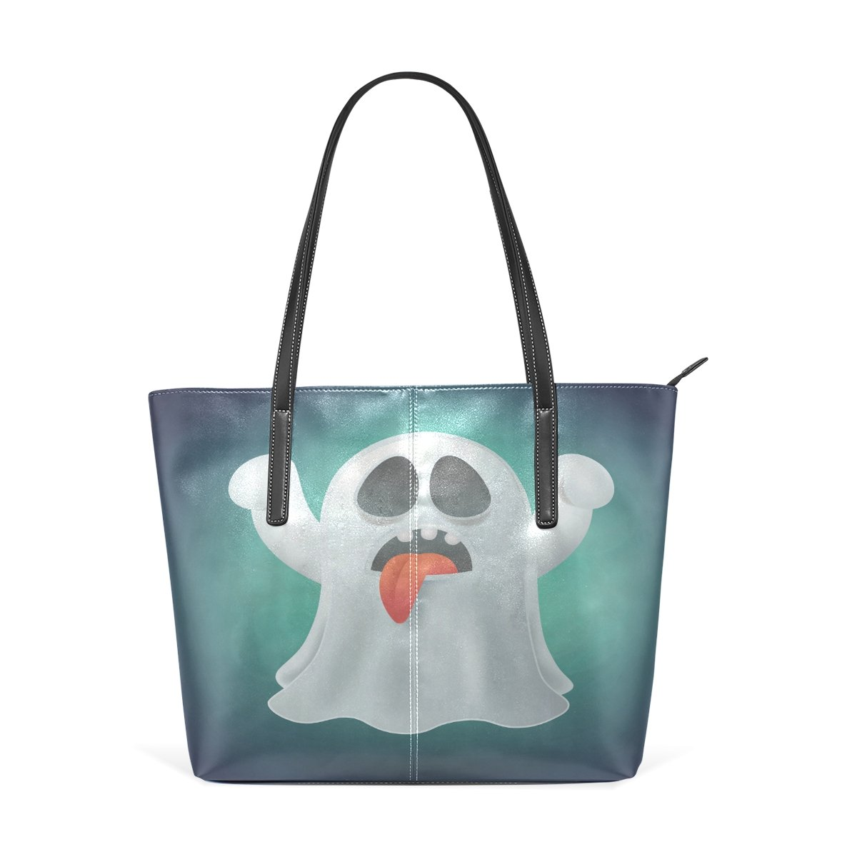 Womens Leather Top Handle Shoulder Handbag Wacky Ghost Large Work Tote Bag