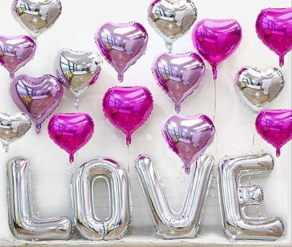 19 Piezas Globos Látex De Love Amor Para Fiesta Metalicos Decoraciónes Violeta Claro Rosa Color Romántica Diseño Adecuado Para Salas Interiores Fiesta