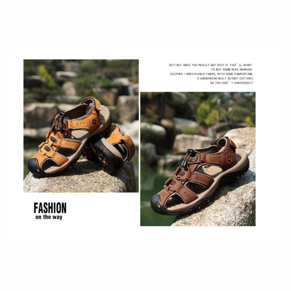 size 40 c47fd de0b4 ... Summer Men s Leather Beach Sandals Outdoor Outdoor Outdoor Sports  Walking Trekking Sandals Closed-Toe ...