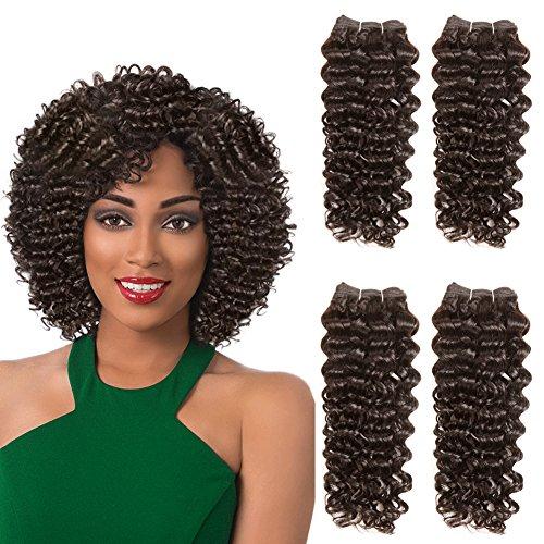 SLEEK 4 Bundles of Short Jerry Curl Weave Human Hair (8