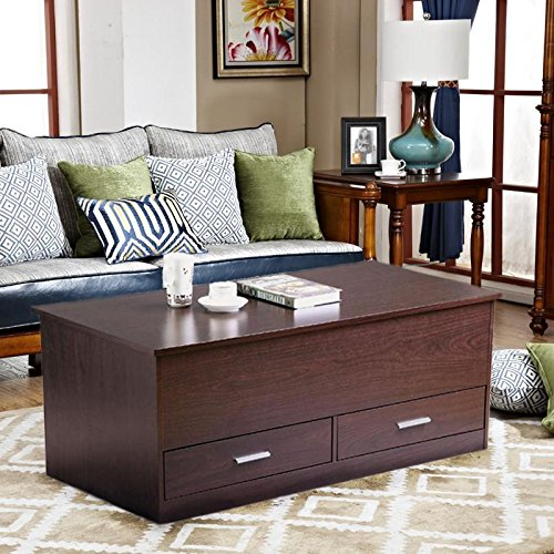 Topeakmart Slide Top Trunk Coffee Table with 2 Drawers and Storage Box, Espresso Finish