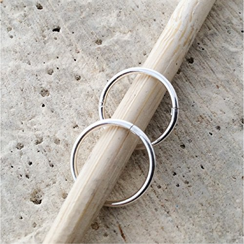 Solid Sterling SILVER Hinged Hoop Earrings,12mm,for men, women, or kids, for nose, ears,lips,brow
