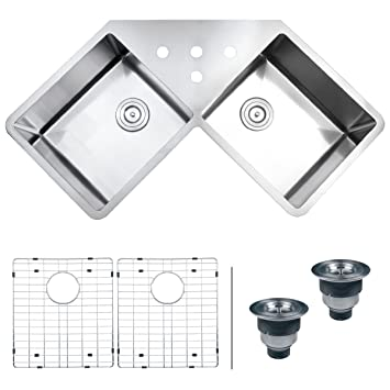ruvati rvh8400 undermount corner kitchen sink 16 gauge 44 u0026quot  double bowl stainless steel ruvati rvh8400 undermount corner kitchen sink 16 gauge 44   double      rh   amazon com