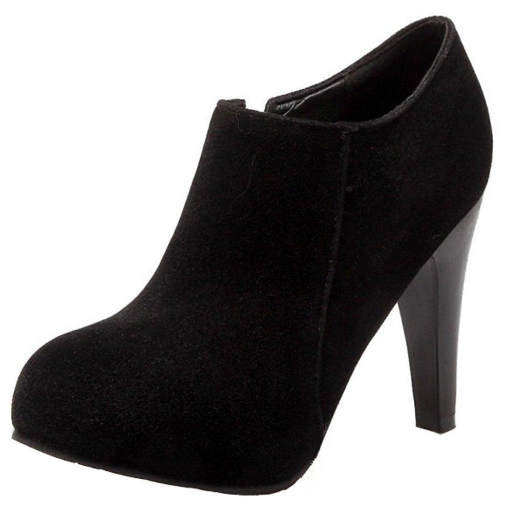 Summerwhisper Women's Dressy Faux Suede Round Toe Hidden Platform Side Zipper High Heel OL Ankle Booties Black 8.5 B(M) US