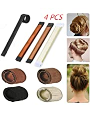 Hair Bun Maker, Beyond Hair Bun Shapers Magic Bun Maker with 4 Colors, French Twist Hairstyle Accessory, DIY Hair Styling Tool for Women Girls -4Pcs