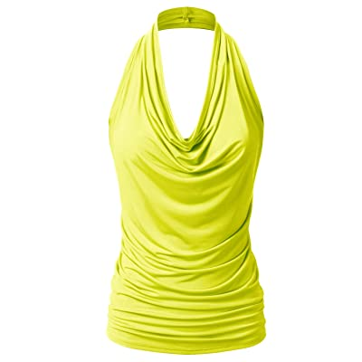 EIMIN Women's Casual Halter Neck Draped Front Sexy Backless Tank Top (S-3XL) at Women's Clothing store