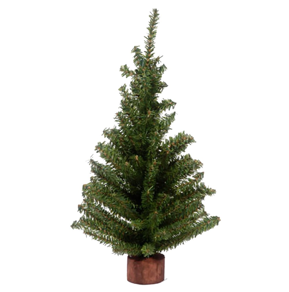 RetailSource Canadian Pine Tree with Wood Look Base - 124 Tips - Green - 18 inches (6 Pack) by RetailSource (Image #1)