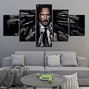 ZZXINK HD Printed Wall Art Canvas Pictures 5 Pieces John Wick Painting Poster Home Decor For Living Room