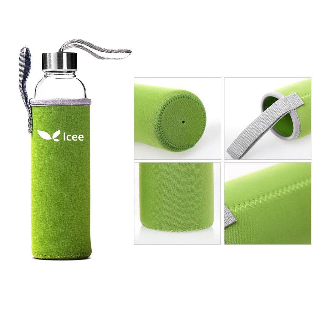 Botella de agua de vidrio martillo de - botella de biberón de vidrio de borosilicato con tapa y funda de nailon para bebidas beber botella de cristal sin ...