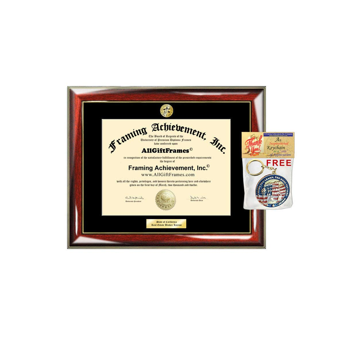 Engrave Realtor License State Board Real Estate Agent Personalized Certified Broker Certificate School Document Holder Case Plaque Frame Exam Student Gift Graduate