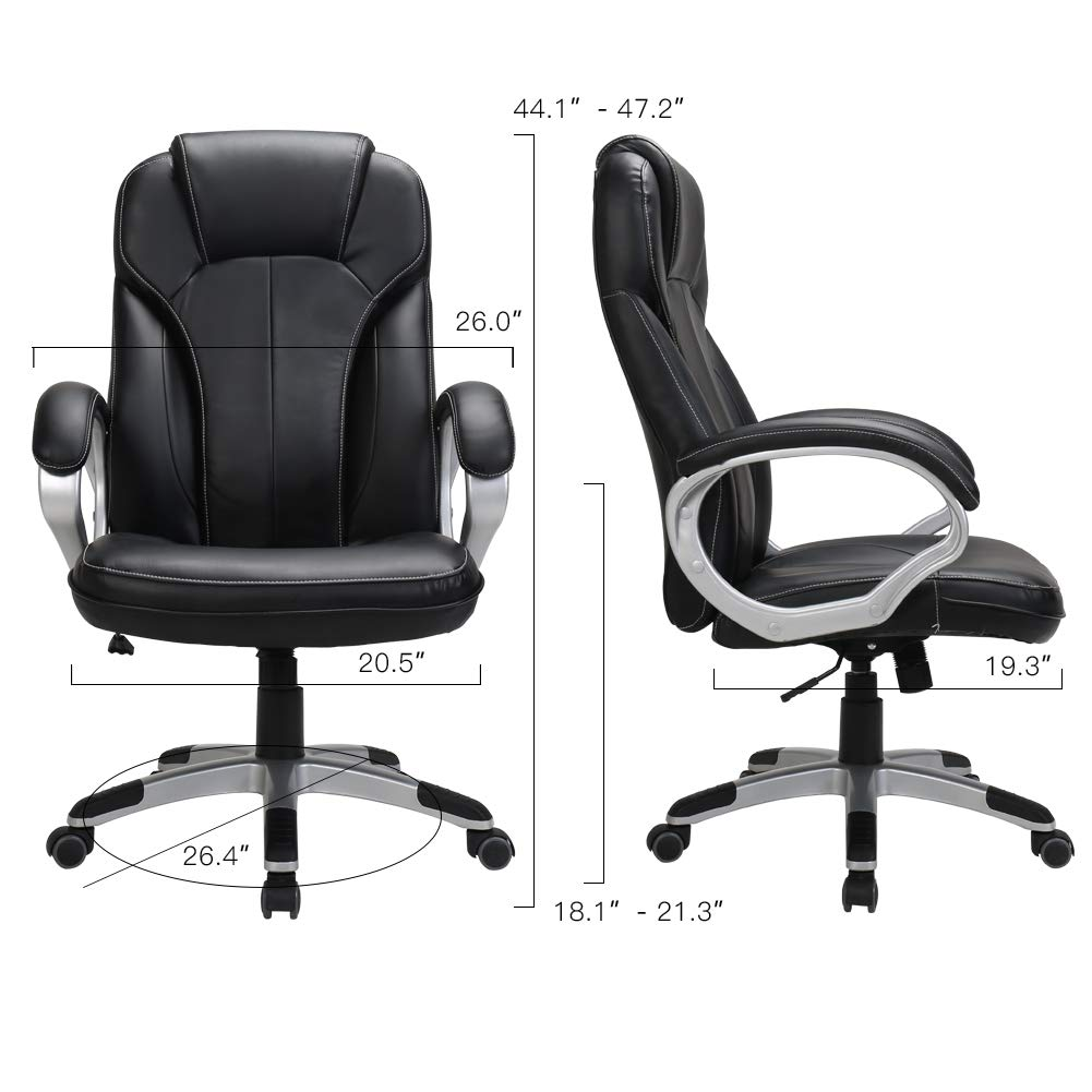 LasVillas Ergonomic PU Leather High Back Executive Office Chair with Adjustable Height, Computer Chair Desk Chair Task Chair Swivel Chair Guest Chair Reception Chairs ... (Black) by LasVillas (Image #3)