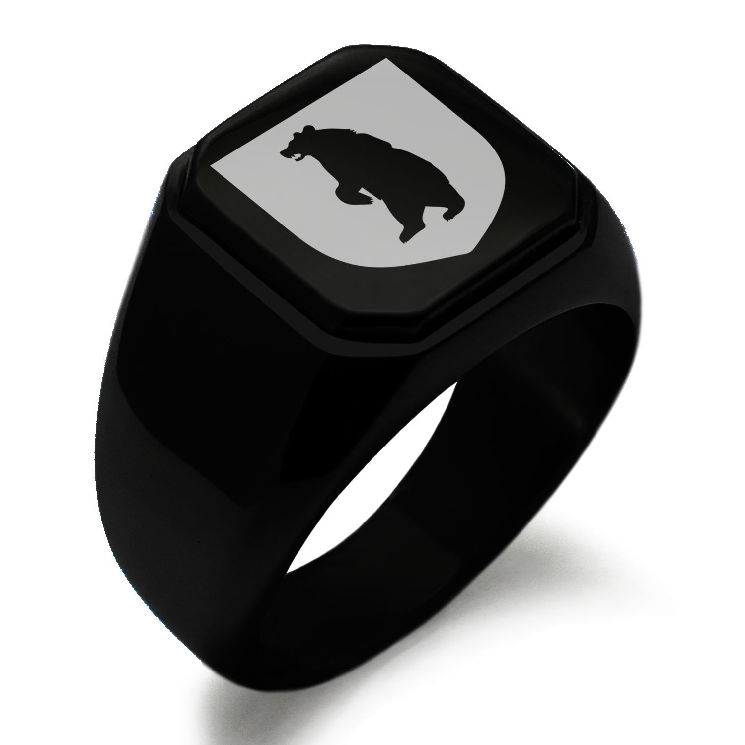 Black IP Plated Stainless Steel Bear Ferocity Coat of Arms Shield Symbol Engraved Square Flat Top Biker Style Polished Ring, Size 7.5