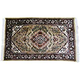 Indian Handmade Carpet Floral Beige Antique Dollhouse Floor Covering Mat 40 quot;X25 quot; Inches