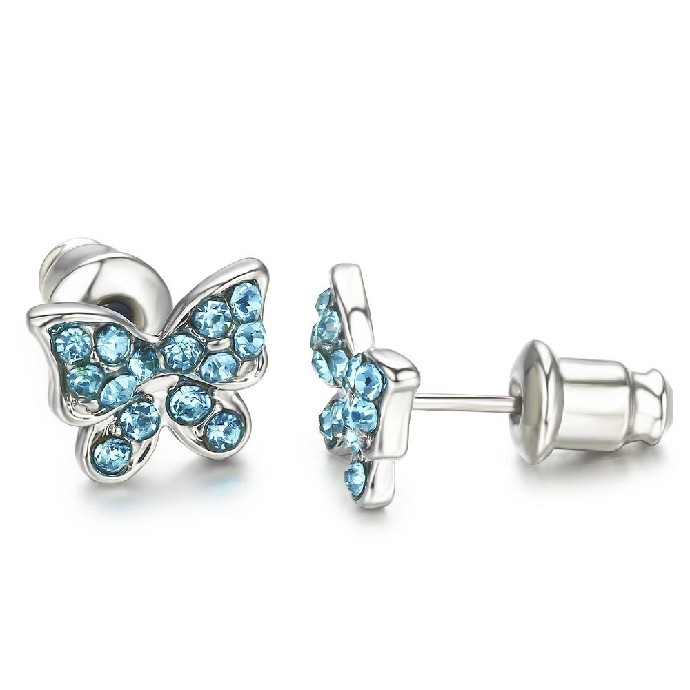 Buyless Fashion Surgical Stainless Steel Butterfly Stud Earrings Buyless Fashion Jewels E100BTAQU