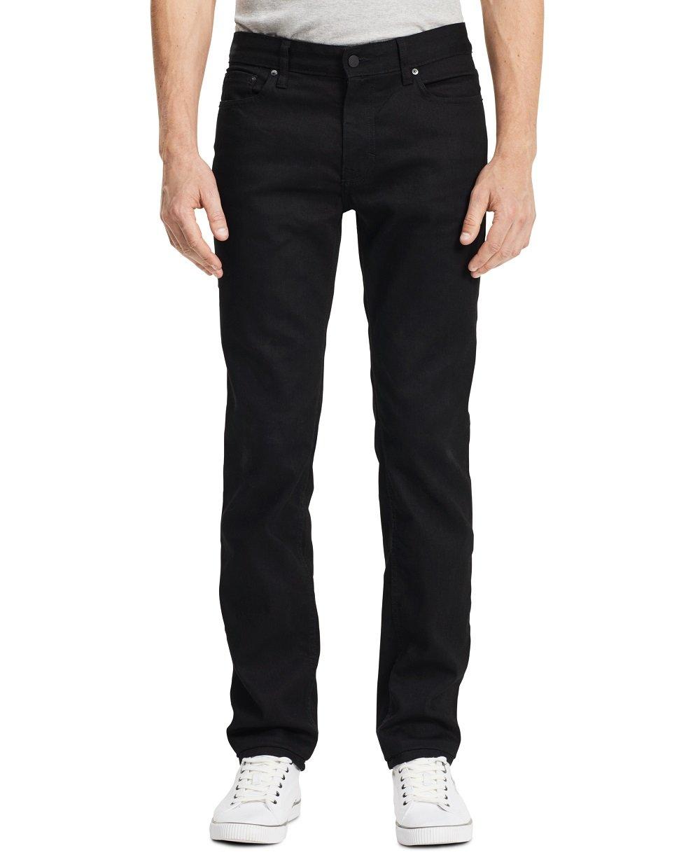 Calvin Klein Men's Slim Straight Fit Denim Jean, Black, 34x32