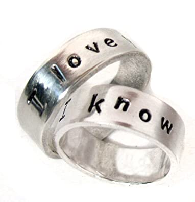 Amazoncom Hand Stamped Silver Ring Pair I Love You I Know His