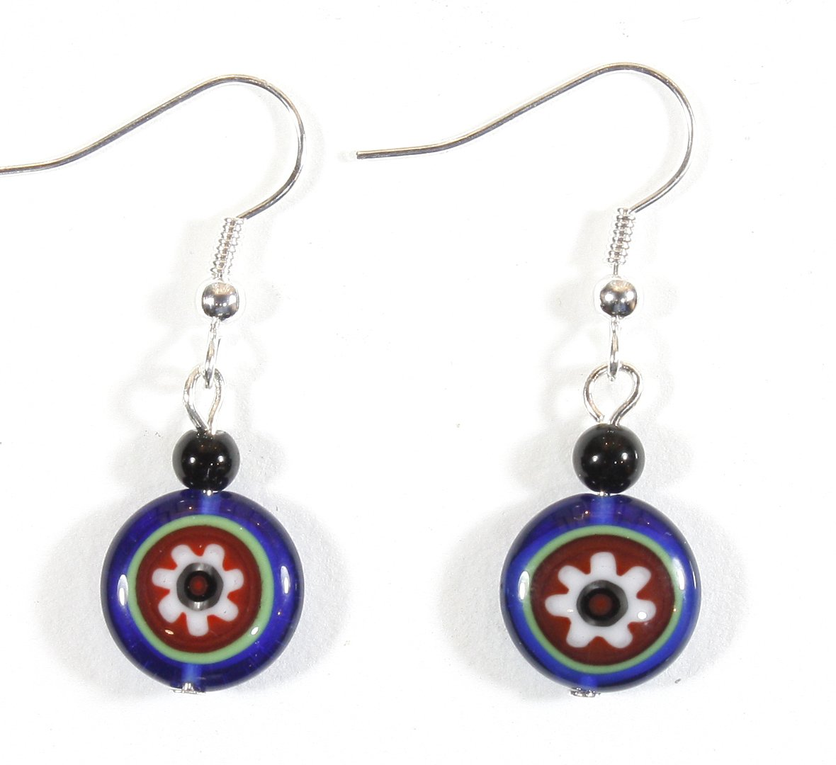''Flower Power'' Blue and Red Boho Millefiori Earrings, Dangle 1.25 Inches
