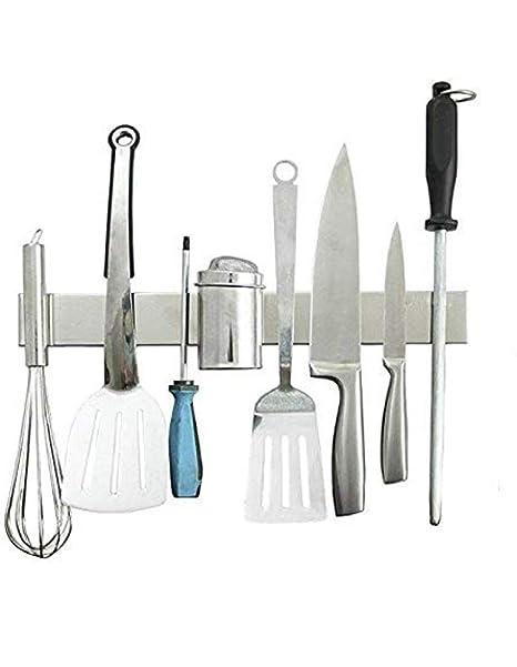 Cuchillos (magnético acero inoxidable 40 cm, cuchillo, herramientas, llaves, bloque de cuchillos, cuchilla plana, montaje en pared, utensilios de ...