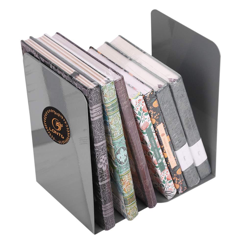 Semplice Bookend stretch Book Block metal grande capacità fermalibri libreria Shelf Tidy Book stand Bookshelf–una coppia Grey ITODA