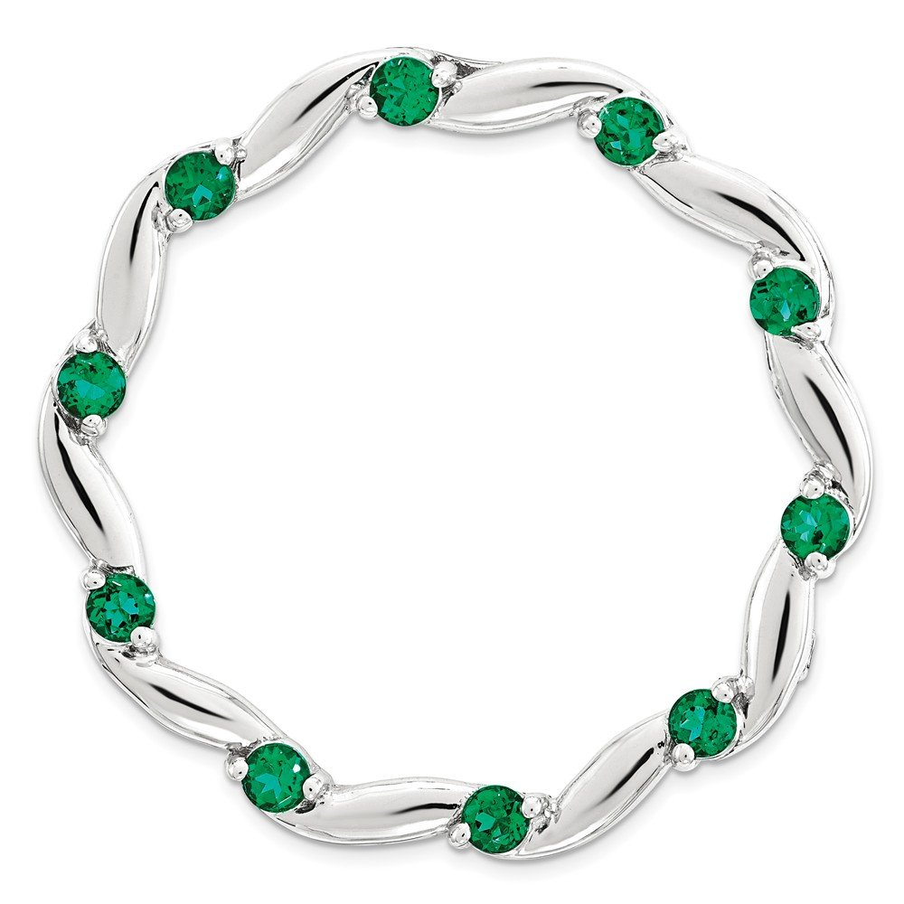 Sterling Silver Stackable Expressions Large Created Emerald Chain Slide One Size