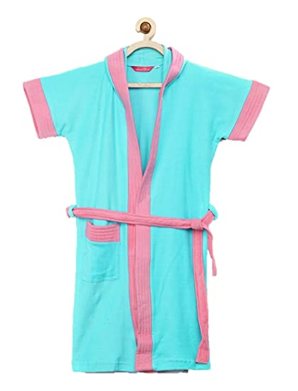 e0981fd5eb Sand Dune - Sky Blue Color with Pink Border Kids Hood Bathrobe for Girls -  100