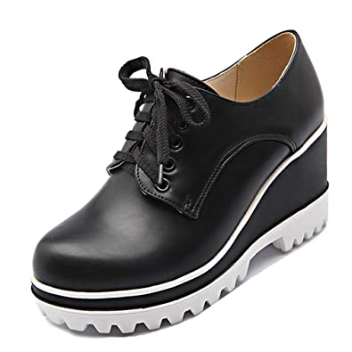 6cabb9150b337 GIY Women's Chunky Platform Wedge Oxfords Shoes Wingtip Lace Up High Heel Round  Toe Leather Dress