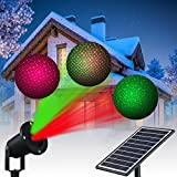 Solario Solar Powered Laser Light Projector w/All-Metal Aluminum Design | Extra-Bright LED Stake Lights | 100% Weather Resistant Outdoor Christmas Lights (Red & Green) (3 Patterns)