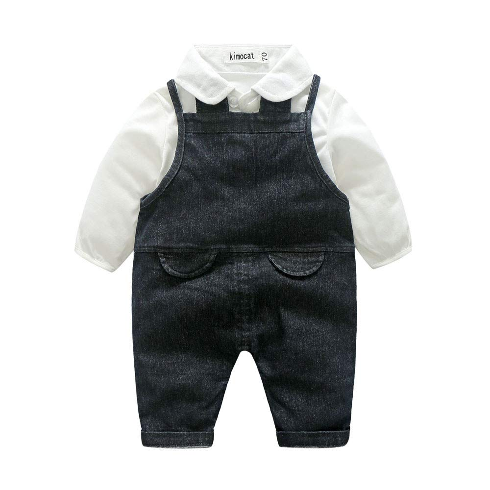Lurryly Newborn Baby Boys Gentleman T Shirt+Denim Suspenders Pants Clothes Outfit 0-3T
