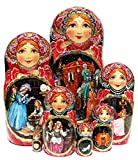 Cinderella Exclusive 7-Piece Nesting Doll Original One-of-a-kind Work of Art Babushka Stacking Set. Signed by Artist.