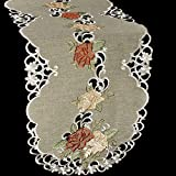 Linens, Art and Things Embroidered Table Runner Dresser Scarf Coffee Table Scarf Gold & Rust Roses on Antique Green 16'' x 35''
