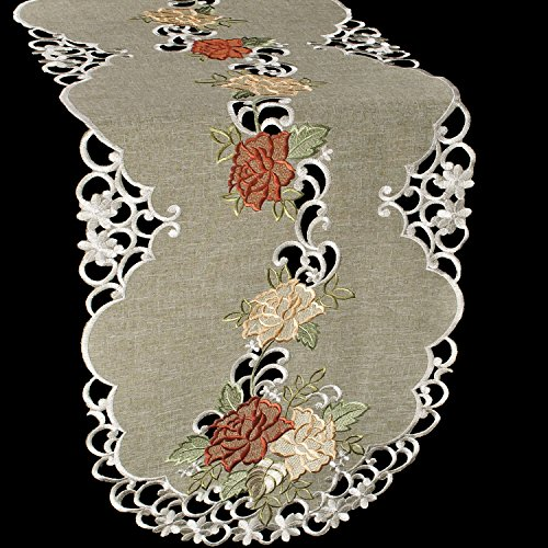 - Linens, Art and Things Embroidered Table Runner Dresser Scarf Coffee Table Scarf Gold & Rust Roses on Antique Green 16