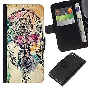 EJOY---La carpeta del tirón la caja de cuero de alta calidad de la PU Caso protector / Apple Iphone 5C / --Catcher indio nativo de la acuarela