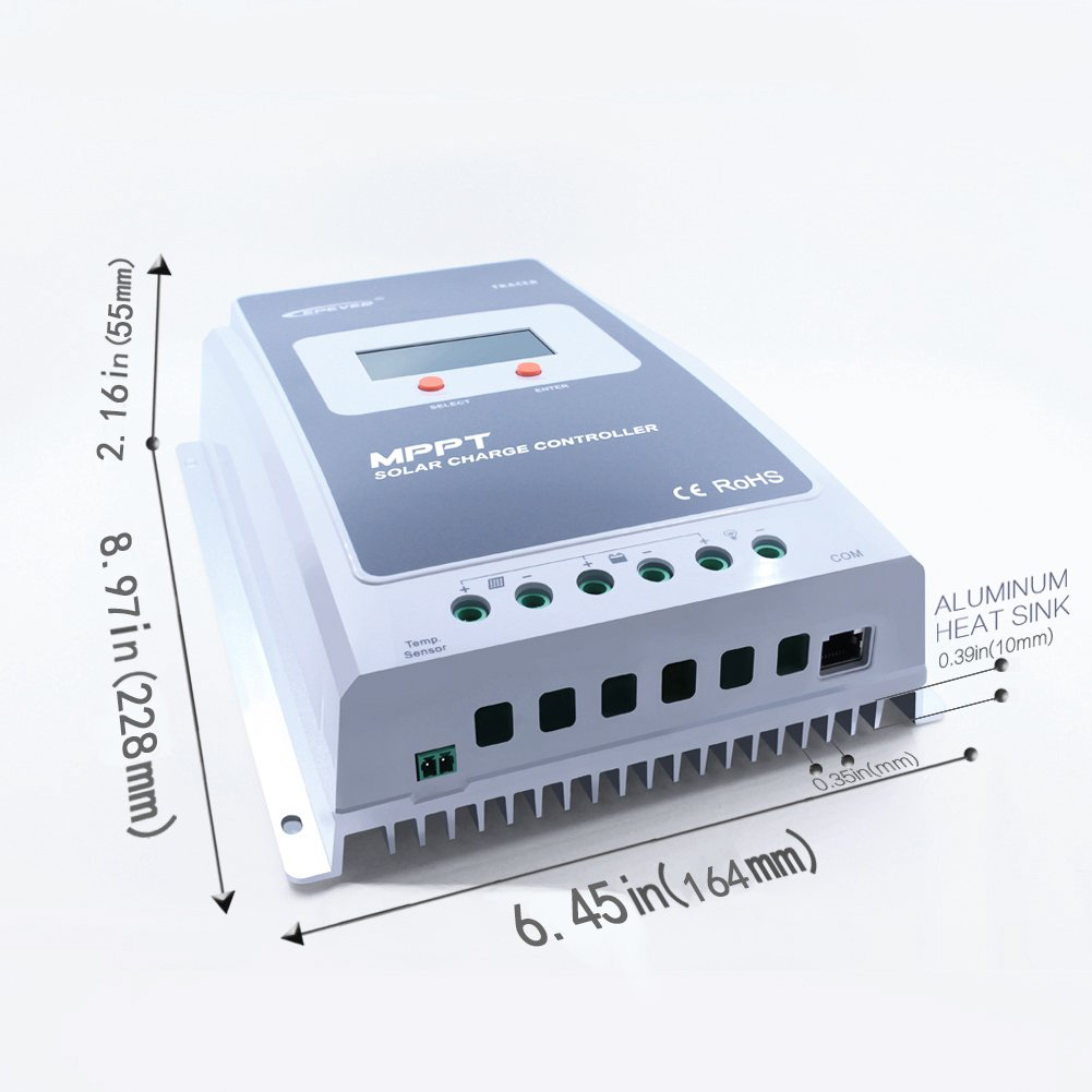 SolarEpic 10A MPPT Solar Charge Controller Regulator PV 100V input Tracer A Series 1210A With LCD Display EPEVER