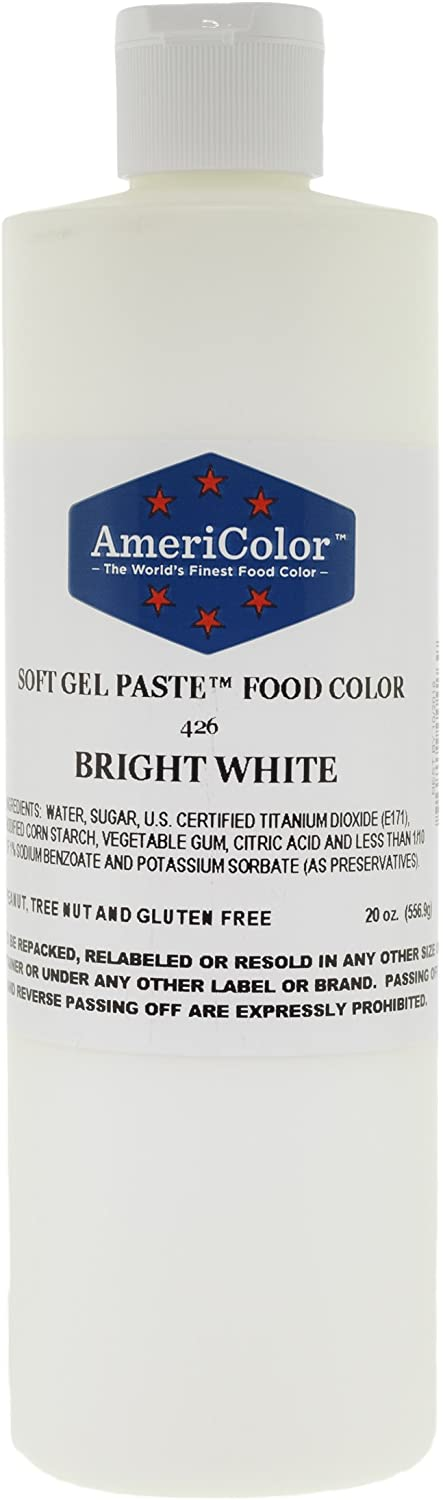 Food Coloring AmeriColor - Bright White Soft Gel Paste, 20 Ounce