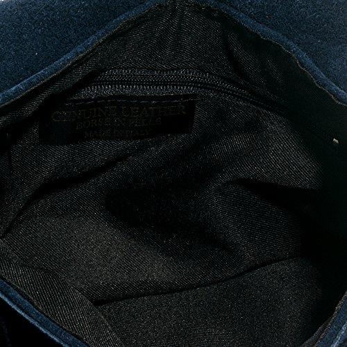 FIRENZE ARTEGIANI.Bolso de mujer piel auténtica.Bolso flecos cuero genuino.Bolso de piel GAMUZA.Bolso mujer mano cuero genuino. MADE IN ITALY. VERA PELLE ITALIANA. 16x23x3 cm. Color: AZUL MARINO