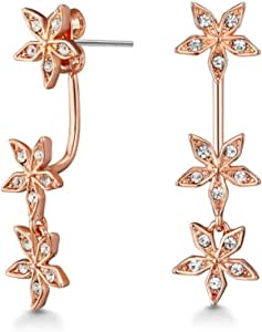 Mestige Rose Gold Star Gazer Earrings with Swarovski Crystals