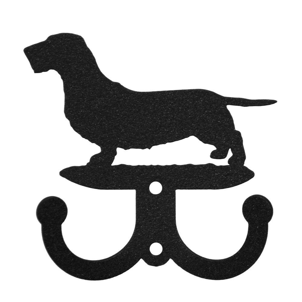 SWEN Products WIREHAIRED DACHSHUND Dog Black Metal Key Chain Holder Hanger